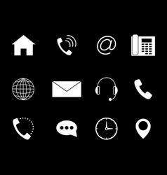 Contact to us icons set white vector