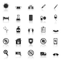 coronavirus icons with reflect on white background vector image
