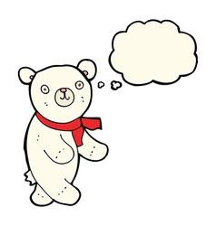 cute cartoon polar teddy bear with thought bubble vector image