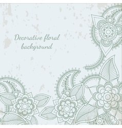 Decorative flower leaf henna background vector image