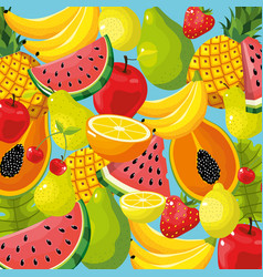 delicious tropical fruit background design vector image
