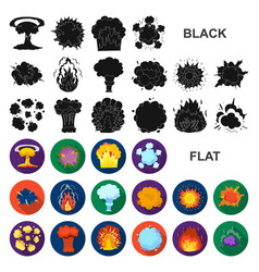 different explosions flat icons in set collection vector image