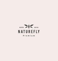 Dragonfly leaf logo icon vector