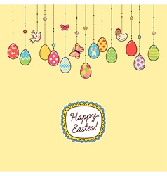 Easter hang eggs yellow vector
