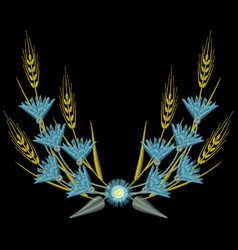 embroidery wheat ears and blue cornflowers vector image
