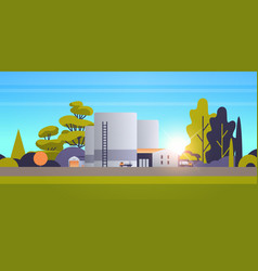 Factory manufacturing building industrial zone vector