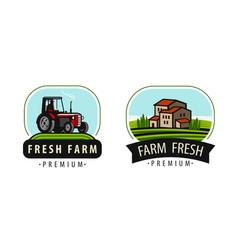 farm logo or symbol agriculture farming food vector image