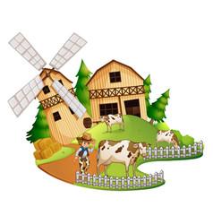 Farmer and cows in the farm vector