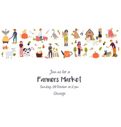 farmers festival template card with funny farmer vector image