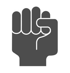 fist up solid icon raised fist vector image