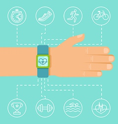 Fitness app and tracker on wrist vector