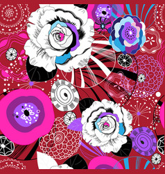 floral pattern different roses graphics vector image