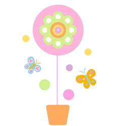 flower and butterflyes vector image
