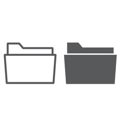 Folder line and glyph icon office and work vector