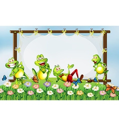 Frame design with green frogs in the garden vector image