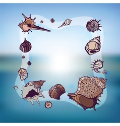Frame of seashells vector