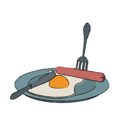 fried egg and sausages food icon image vector image