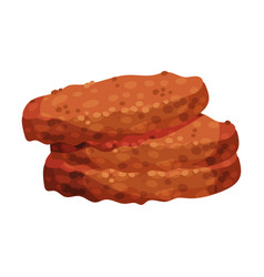 Fried meat cutlets sandwich or burger ingredient vector
