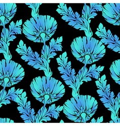 Garden flowers on black seamless hand-painted soft vector