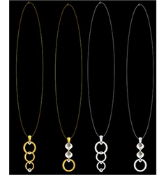 Gold and silver necklaces vector image