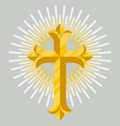 Golden catholic cross icon isolated vector