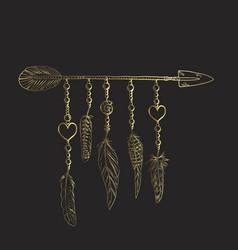 Golden luxury boho elements vector