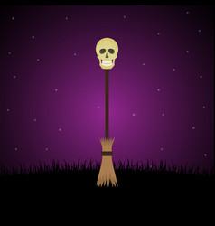 halloween witch broomstick graveyard skull vector image vector image