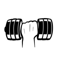 hand with dumbbell vector image