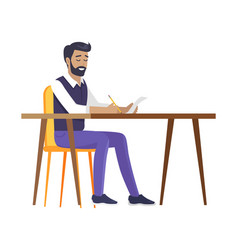 Happy bearded man sitting by table colorful card vector