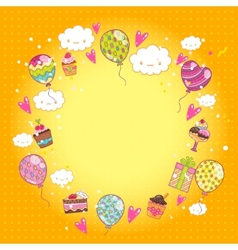 Happy Birthday card with cupcakes and balloons vector image