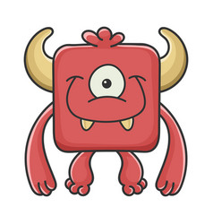 happy red square devil cartoon monster vector image