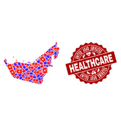 Healthcare collage of mosaic map of united arab vector