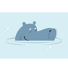 Hippo in water Big fat hippopotamus in swamp Cute vector image