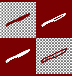 Knife sign bordo and white icons and line vector