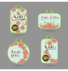 Labels Design Roses On Blue vector image