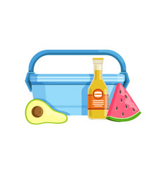 lunch box with avocado watermelon and bottle of vector image