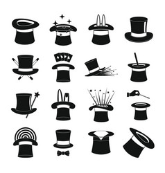 Magician hat sorcery icons set simple style vector
