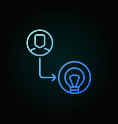 man with bulb colored icon in thin line vector image