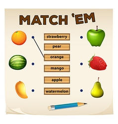 Matching game with fresh fruits vector image