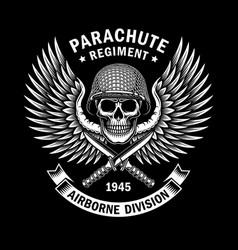military skull emblem graphic on black vector image