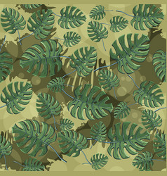 Monstera plant leaves seamless pattern with vector