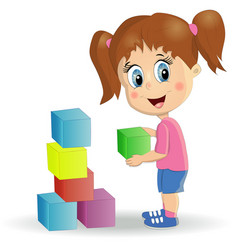 Multiracial children build tower with blocks kids vector