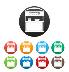 Noodle selling icons set color vector