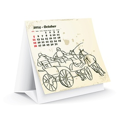 October 2014 desk horse calendar - vector image