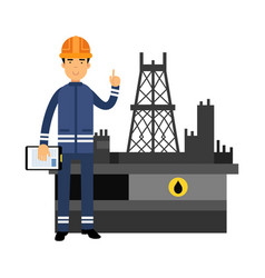 Oilman character in a blue uniform standing next vector