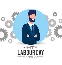 Professional businessman with gear to labour day vector