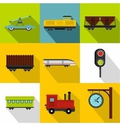 Railway icons set flat style vector