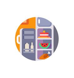 Refrigerator full food and drinks vector