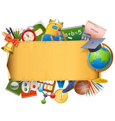 School scroll with globe vector