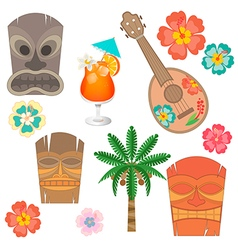 Set Hawaii simbols and accessories vector image
